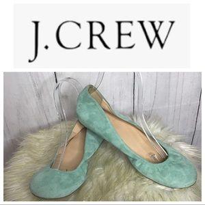 J Crew Anya suede ballet flats mint green 9